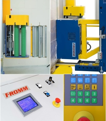 FROMM 4SFW ovinovací stroj v kombinaci s páskováním