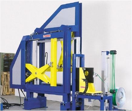 Automatický páskovací systém s dřevěným  lisem na plastové (LP10) a ocelové pásky (LP40)